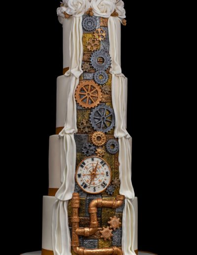 Steampunk-style-reveal-wedding-cake