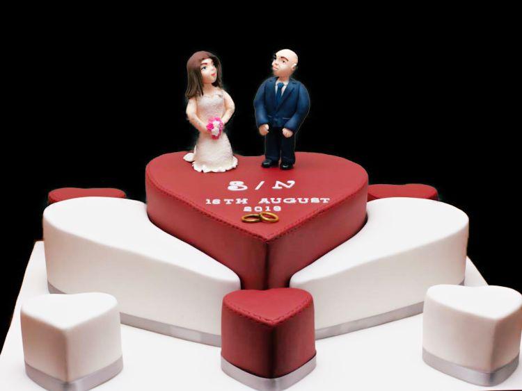 Giant heart wedding cake