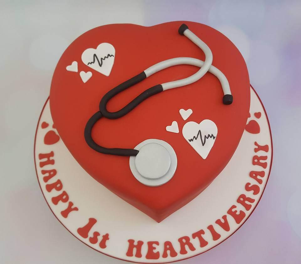 Heart organ transplant anniversary cake