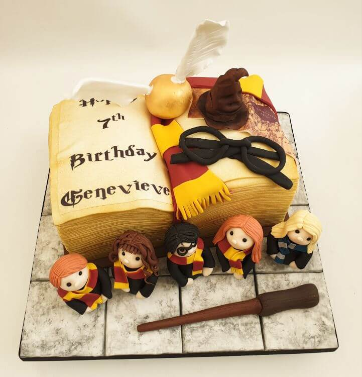 Wizard character book cake with figures