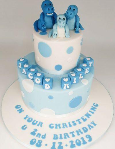 Dinosaur-themed-2-tier-christening-cake